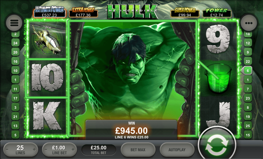 The Incredible Hulk slot has stunning extra features.
