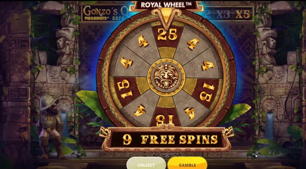 Gonzo's Quest Megaways free spins feature starts with a wheel of fortune